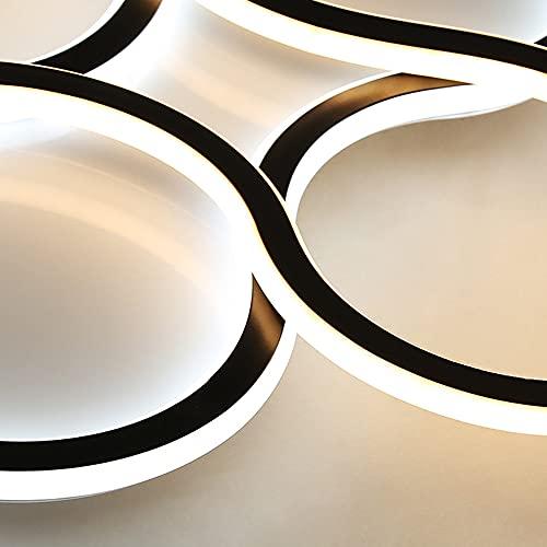 Regulable LED Negro Dormitorio Iluminación de Techo 102W Modernas Anillo Lámpara de Techo con Mando a Distancia Sala de Estar Luz de Techo, Gel de Sílice Pantalla, Ø50CM/8160 Lumen