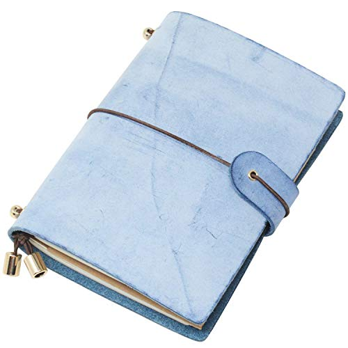 Klassisches Notizbuch aus echtem Leder, weicher Einband, nachfüllbare Seiten, Leder-Tagebuch für Geschenke, Tagebuch, handgefertigtes Reise-Notizbuch Passport Size blau - peacock blue