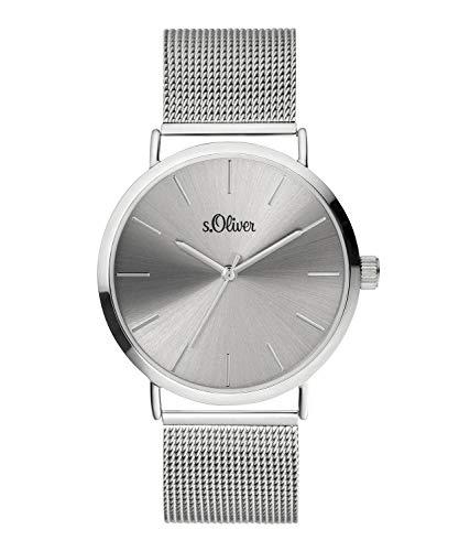 s.Oliver Damen Analog Quarz Armbanduhr mit Edelstahlarmband SO-3885-MQ
