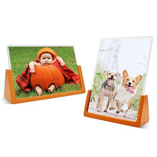 5x7 Marco de fotos – Naranja – Pack de 2 (horizontal + vertical) – Base de madera y cubiertas acrílicas de alta resolución irrompibles (naranja, 4x6 pulgadas)