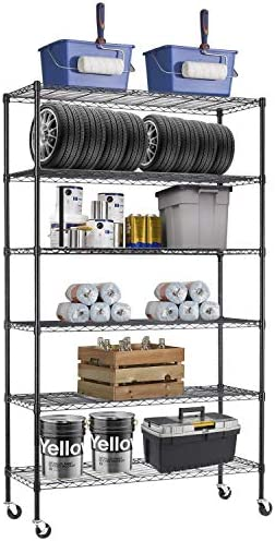 48 L 18 W 82 H Wire Shelving Unit Metal Shelf with 6 Tier Casters Adjustable Layer Rack Strong product image