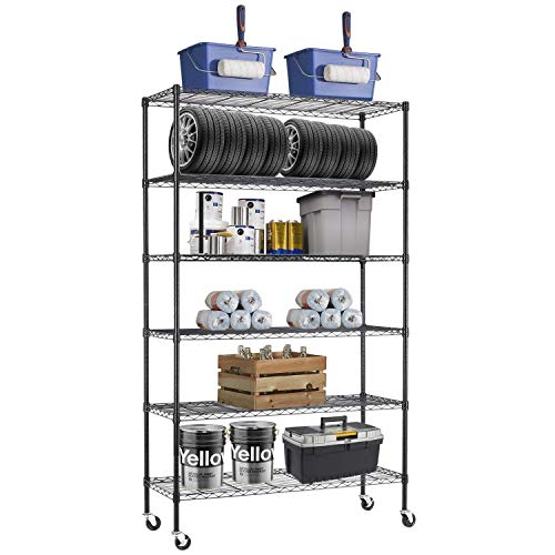 48' L×18' W×82' H Wire Shelving Unit Metal Shelf with 6 Tier Casters Adjustable Layer Rack Strong Steel for Restaurant Garage Pantry Kitchen Garage,Black