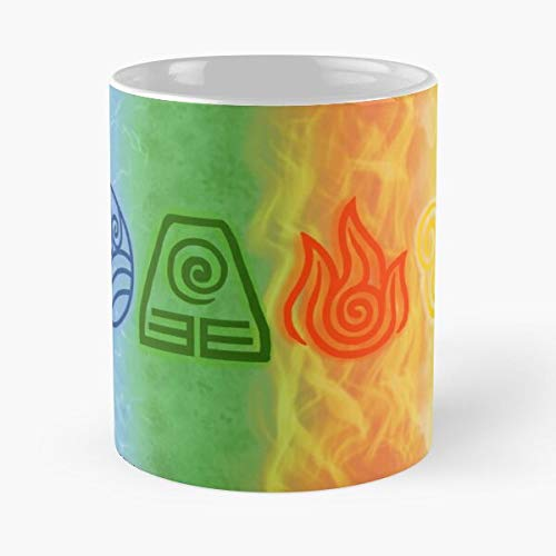 Water Fire Avatar Earth Nation Symbols The Air Airbender Last Best Mug holds hand 11oz made from White marble ceramic