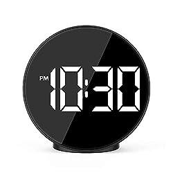 ORSERA LED Digital Alarm Clock with Indoor Temperature, Adjustable Brightness Dimmer, Small Easy Setting Clock for Bedroom Desk Bedside