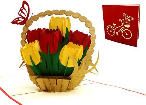 LIN 17573, pop-up kaart bloemen tulpen, pop-up kaarten verjaardag, pop-up verjaardagskaart, wenskaart, 3D kaart bloemen, Moederdag, veel geluk, goede verbetering, tulpen, N322