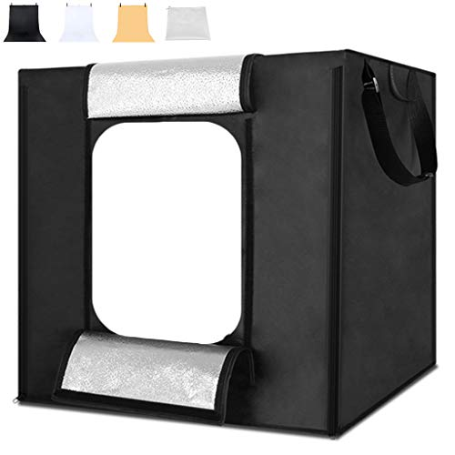 Photo Studio Light Box, Large Professional Photography Tents with Brightness Dimmable LED Lights, White/Black/Brown Backdrops for Jewellery, Food, Shoes Shooting,80 * 80 * 80cm