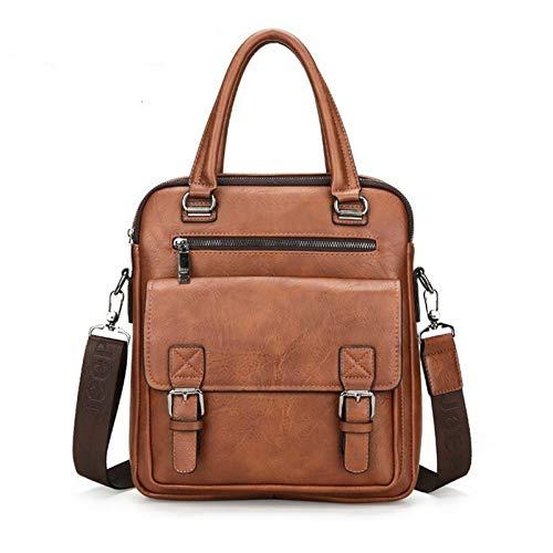 Yi-xir Bolso de piel para hombre, diseño de moda, con dos bolsillos, asa para portátil, ligero y duradero (color 8001A marrón, tamaño: A)