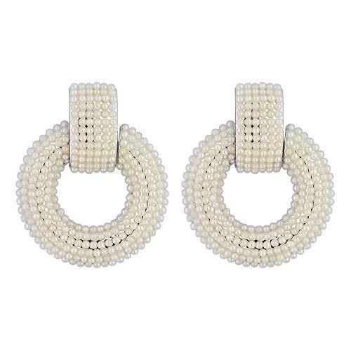 Silver Plated Pearl Door Knocker Earrings White