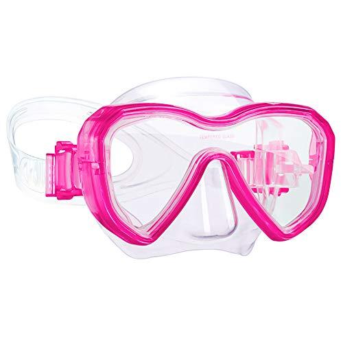 Dorlle Kinder Taucherbrille Tauchmaske,Anti-Fog und Anti-Leck Schnorchelbrille Schwimmbrille Wasserdicht Tempered Glas Maske für Kinder,Rosa
