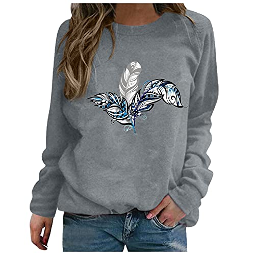 Sudadera Mujer Barata Anchas Chica Impresión, Top Suéter Sweatshirt Mujer Tallas Grandes Originales Otoño e...