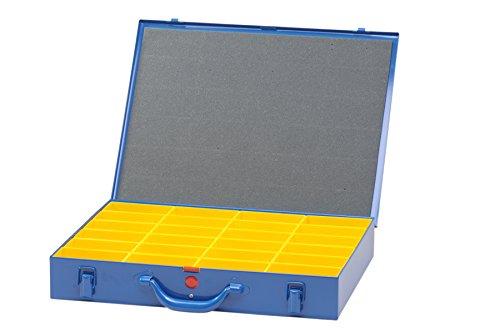 Hünersdorff Maletín para piezas pequeñas de metal, 24 cajas insertables 330x440x66 mm, azul oscuro