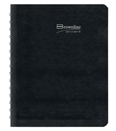 Brownline Weekly Planner Twin-Wire Binding with Soft Lizard-Like Cover, 11-Inch X 8-1/2-Inch, English, Black (CB950.BLK_2015)