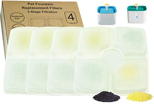 Amazinpure 4-Pack Square Cat Fountain Filters Replacement Compatible with Flower-Type Pet Drinking Fountains Dog Water Dispensers VEKEN MUDEELA PARNER DELOMO KWYDER DEWEL LOETAD UBANTE