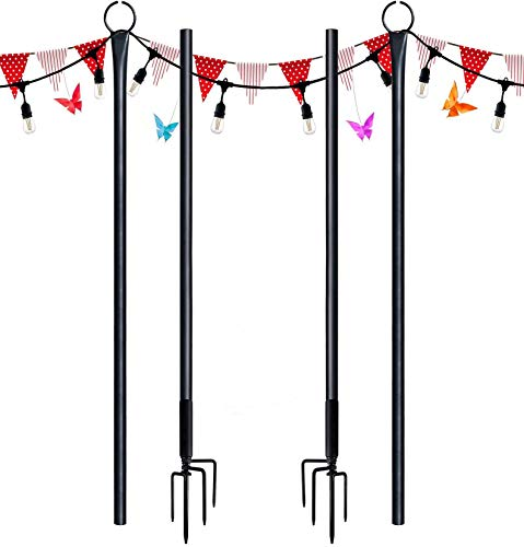 Outdoor String Lights Poles. 2Pack 9ft SURNIE Festoon Pole for Hanging Festive Bulbs. Stainless Steel Connecting Rod, Garden Decoration for Weddings, Holidays, Parties, Events, etc.