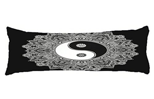HollyNoirial Body Pillow Cover Cotton Long Body Pillow Case Hotel Home Decorative At Bed Ying Yang Mandala White and Black Pillowcase 20x54 inch