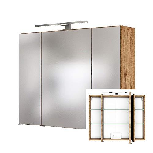 Lomadox 3D Spiegelschrank 60 cm in Wotaneiche Nb. inkl. LED Beleuchtung, BxHxT: ca. 60x66x20 cm