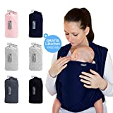 Makimaja - Écharpe de portage bleu marine - porte-bébé de haute qualité pour nouveau-nés et bébés jusqu'à 15 kg - en coton...
