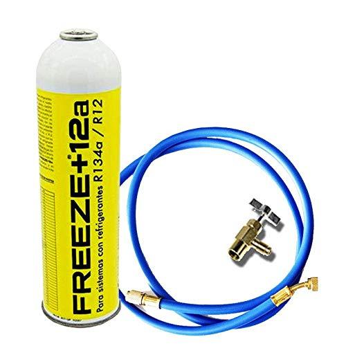 REPORSHOP - 1 Botella Gas Ecologico Refrigerante Freeze +12a 420Gr + Valvula + Manguera Organico Sustituto R12, R134A