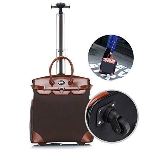Women Portable Laptop Roller Case, Business Wheeled Laptop Case Single Shot Universal Wheel Rolling Laptop Case on Wheels Roller Bag Pilot Case Wheeled Laptop Briefcase up to 18/20',Brown,18
