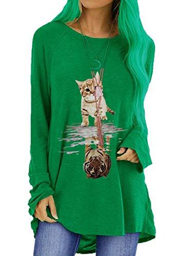 OtoñO Camisetas para Mujeres Gato De ImpresióN Suelta De Cuello Redondo De Manga Larga Camiseta