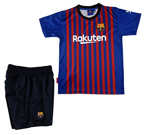 Conjunto Camiseta y Pantalon 1ª Equipación 2018-2019 FC. Barcelona - Réplica Oficial Licenciado - Dorsal Liso - NiñoTalla 14 años - Medidas Pecho 49 - Largo Total 67.5 - Largo Manga 17.5 cm.