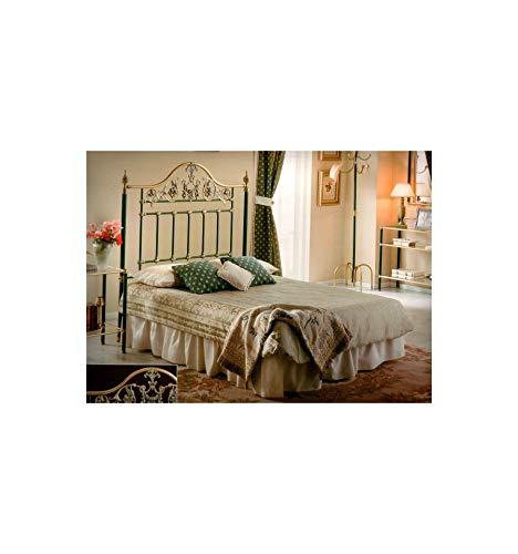 Cabecero de forja y latón Corinto - Negro, Envejecido, Cabecero para colchón de 105 cm