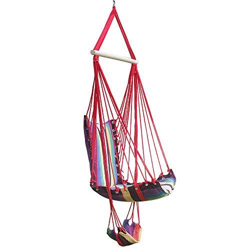 QWERTOUY katoenen touw tuin schommelstoel dikker draagbare hangmat met voet pad houten binnen outdoor schommel ontspannen camping Hang stoel stoel