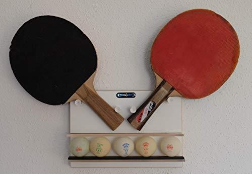 Clipboart® Wandhalterung für Zwei Tischtennis Schläger und max 6 Bälle Ping Pong Table Tennis Aufbewahrung Halter Wandbefestigung Halter Wall Mount