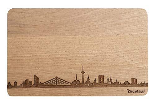 Brotzeitbrett Düsseldorf Skyline | Frühstücksbrettchen aus Buche | Holz Schneidbrett | Geschenk mit Gravur | Frühstücksbrett | Nordrhein-Westfalen (Standard (22x14x1cm), 1. ohne persönlicher Gravur)