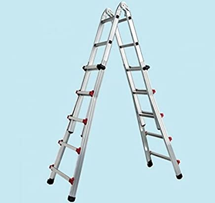 multifunzione OUTAD Scala telescopica in alluminio 5.1m // 4 x 5 pioli scala a libretto pieghevole scala a pioli regolabile in altezza su entrambi i lati