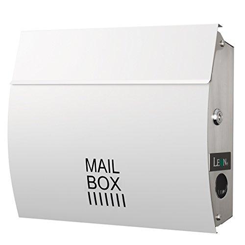 LEON (レオン) MB4801 郵便ポスト 壁掛けタイプ ステンレス製 鍵付き おしゃれ 大型 ポスト 郵便受け (マグネット付き) ホワイト