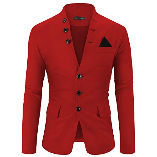 WEEN CHARM Mens Casual Slim Fit Standing Collar Blazer 3 Button Suit Sport Jackets Red