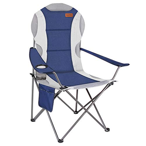 RISEPRO Oversized Camping Folding Chair Heavy Duty Support 350 LBS Heavy Duty Steel Frame Arm Chair with Cup Holder Fully Padded Back Chair Portable for Outdoor