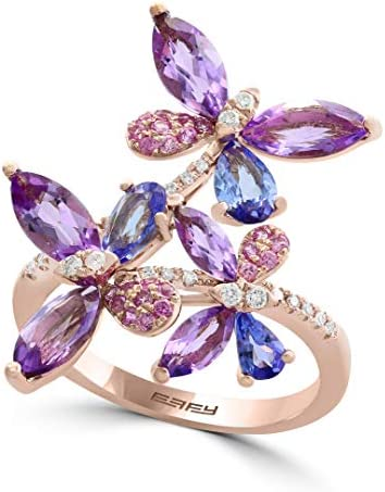 Effy Multi Gemstone 3 1 2 ct t w Diamond Accent Butterfly Ring in 14k Rose Gold product image
