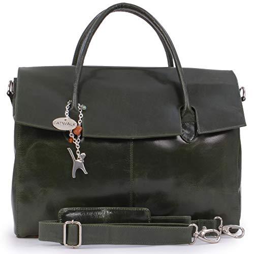 Catwalk Collection Handbags - Dames Extra Grote Leren Aktetas/Schouder/Cross Body Tas - Dames Organiser Werk Tas - Laptoptas met gewatteerd compartiment - HELENA