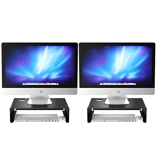 Newaner Soporte Monitor, Alzador Pantalla, Elevador para iMac PC portatil Compatible con 22-32 Pulgadas Monitor Incluyendo HP Acer Aoc ASUS Sumsung msi LG DELL Lenovo, hasta 30 kg, Negro (2 Pack)
