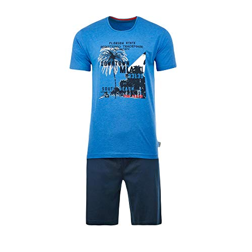 TOM TAILOR Herren-Shorty mit Druckmotiv Single-Jersey blau Größe 50