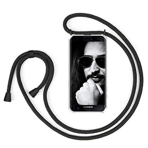 ZhinkArts Handykette kompatibel mit Samsung Galaxy S7 Edge - Smartphone Necklace Hülle mit Band - Handyhülle Case mit Kette zum umhängen in Schwarz - Schwarz