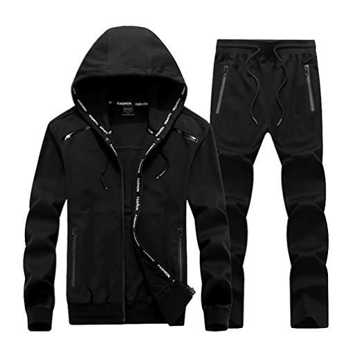 QQT Männer 2 Stück Trainingsanzug Sweatsanzug Anzug Lässige Langarm Nylon Running Sportbekleidung Massiv farbig Plus Größe Outfit Set Kleidung Anzug Jacke Black-L