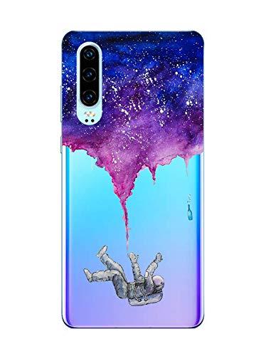 Suhctup Case Compatible con Huawei Honor 8C Funda Transparente Suave Silicona TPU Bumper Cárcasa Dibujos Animales Diseño Ultra Delgada Antigolpes de Protector Piel Cover,Ahogo