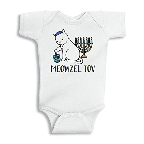 Meowzel Tov Cat Hanukkah Baby Onesie Infant One Piece Bodysuit 12 Months White