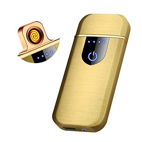Auratrio Y26 Accendino elettrico al plasma Arc Lighter ricaricabile touch screen elettronico fenicottero antivento per cucina, barbecue, candele e sigarette (oro)