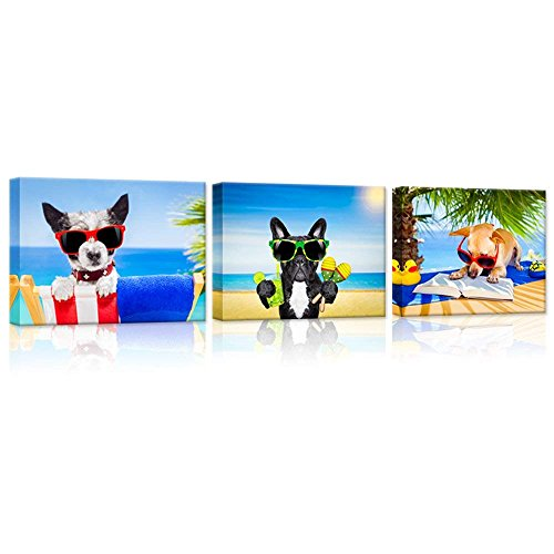 iHAPPYWALL 3 Pieces Animals Canvas Wall Art Chihuahua Dog Reading Book Terrier Dog with Sunglasses French Bulldog Enjoying Cocktail Funny Puppy Relaxing On Summer Beach Painting On Canvas Wall Art