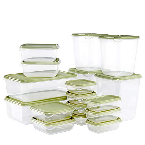 mreechan Contenedor de Alimentos, Juegos de Recipientes para Alimentos, 17 contenedores con Tapas,Recipientes para Cereales Sin BPA, Adecuado para microondas, congelador y lavavajillas