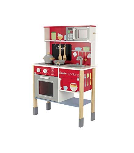 Wood'n'Play - Cucina in Legno per Bambini Home Cooking, Cucina Giocattolo per Bambini con Effetti Sonori e Luci, Lavello Estraibile, Piano Cottura, Lavagna, Forno, Microonde, Pentole e Set Accessori