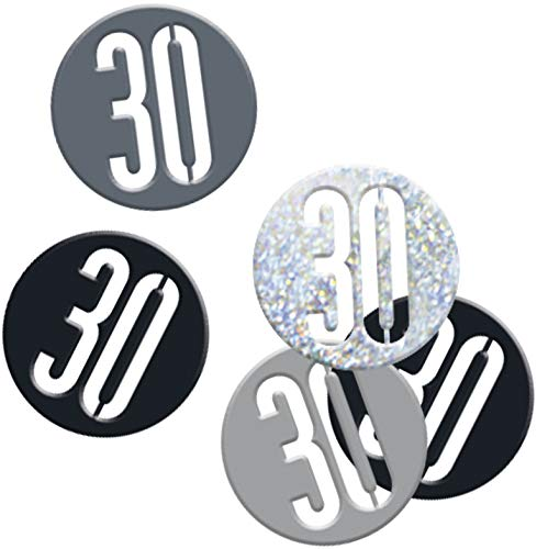 Bling Fête et décorations de table pour anniversaire 30 ans en noir et argent Glitz