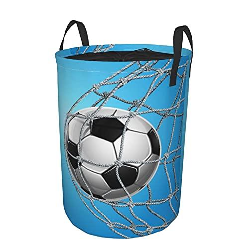 Cesta de lavandería grande,Soccer Goal Football In Net EntertainmenCesto de ropa plegable de tela con asas, bolsa de ropa plegable impermeable para sala de juguetes, 41,9 cm x 54,9 cm