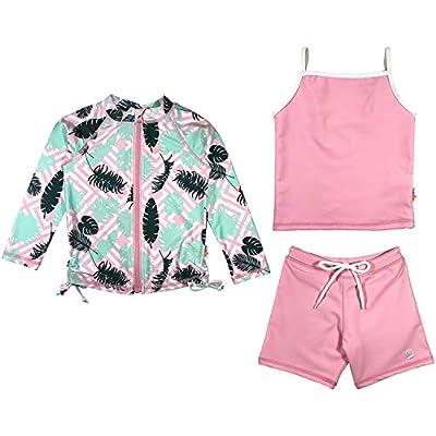 SwimZip Girl 3 Piece Long Sleeve Rash Guard, Tankini & Shorts | Palm Breeze - 2T Pink/Mint