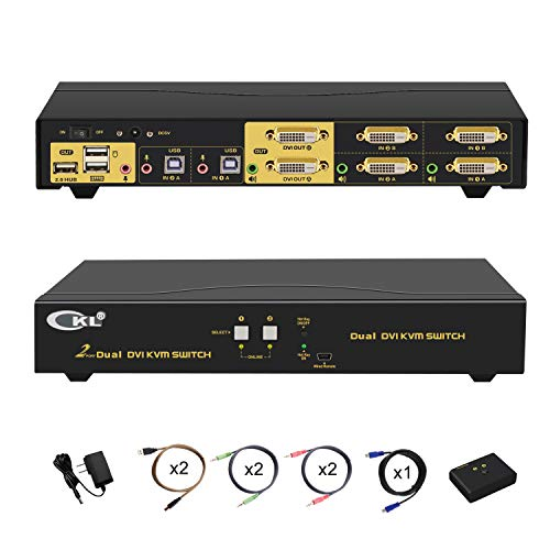 DVI KVM Switch Dual Monitor Extended Display 2 Port with