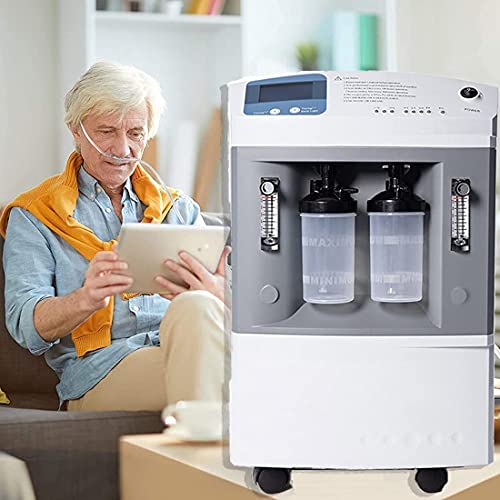 HUALUWANG Oxygen Concentrator 1-10L/min High Capacity Dual Flow Double Cup O2 Generator, Adjustable Electric Oxygen Concentration Equipment - High & Low Pressure Alarm